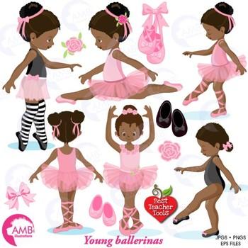 Ballet Clipart, African American Ballerina Clipart {Best Teacher Tools} AMB-1362