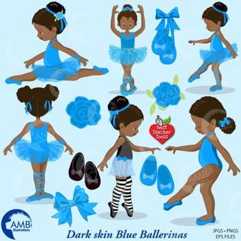 Ballet Clipart, Blue African American Ballerinas {Best Teacher Tools} AMB-1946