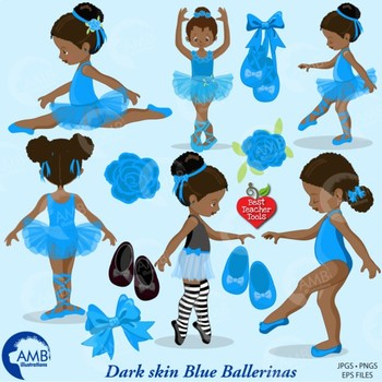 Ballet Clipart, Blue African American Ballerinas {Best Teacher Tools} AMB-1946