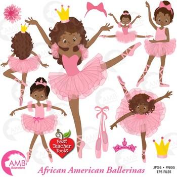 Ballet Clipart, Ballerina, Dancer Clipart, African American, AMB-947