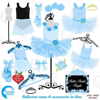 Ballet Clipart, Ballerina Clipart, Blue Floral tutu, Ballet Clip Art, AMB-1319