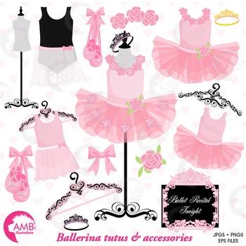 Ballet Clipart, Ballerina Clipart, Pink Floral tutu, Ballet Clip Art, AMB-1308