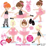 Ballet Clipart, Ballerina Clipart, Ballet in Pink and Black Clip Art, AMB-1306