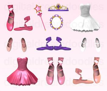 Ballet Clipart - Ballerina Dancer Digital Graphics