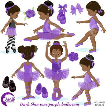 Ballet Clipart, Purple African American Ballerinas {Best Teacher Tools} AMB-1947