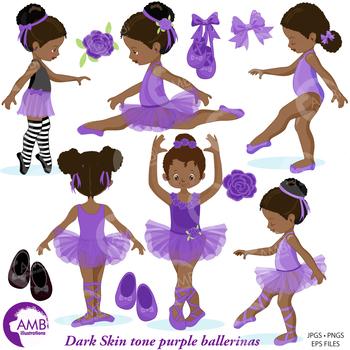 Ballet Clipart, Purple African American Ballerinas {Best Teacher Tools} AMB-1947