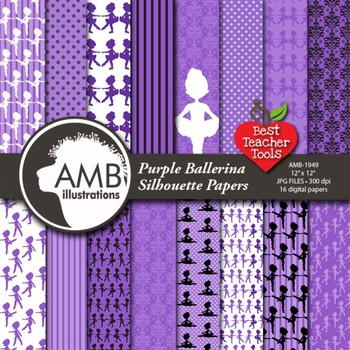 Ballet Digital Papers, Ballerina Silhouettes, {Best Teacher Tools} AMB-1949