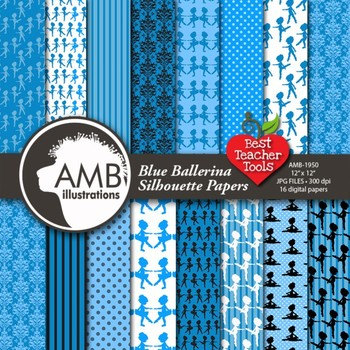 Ballet Digital Papers, Blue Ballerina Silhouettes, {Best Teacher Tools} AMB-1950