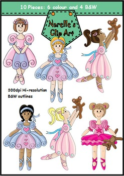Ballet Girls Clip Art Set. Dance Kids. 10 Pieces.