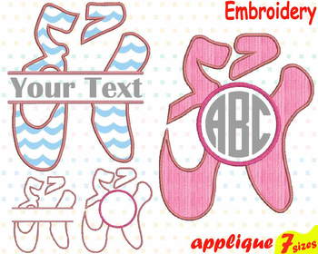 Ballet Shoes Applique Designs for Embroidery Machine Ballerina Shoes pink 2a