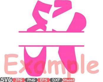 Ballet Shoes Circle & Split Frame ballerina clipart Legs dance slippers svg 34sv