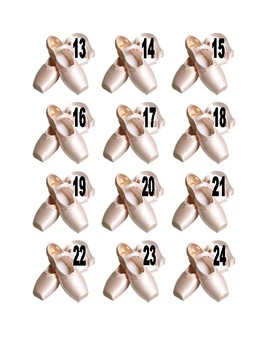 Ballet Shoes Numbers for Calendar or Math Activity