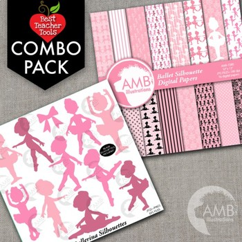 Ballet Silhouette Clipart & Digital Papers Bundle {Best Teacher Tools} AMB-1722