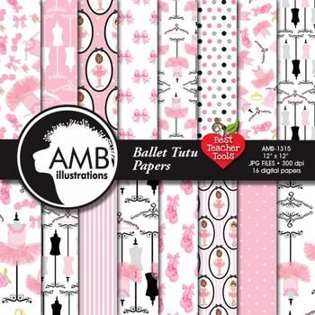 Ballet Tutu Digital Papers, Ballerina Backgrounds {Best Teacher Tools} AMB-1315