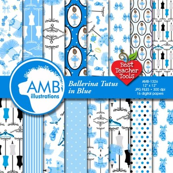 Ballet Tutu Digital Papers, Blue Ballerina Backgrounds  AMB-1326