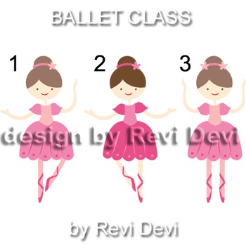 Ballet class clip art 13010 (teacher resource) ballerina in pink, blue, yellow