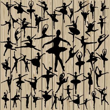 50 Ballet silhouette, SVG, DXF, PNG, EPS, Vector, ballerina SVG, Ballet SVG