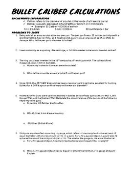 Ballistics Calculations Worksheet Bundle