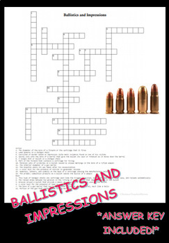 Forensic Ballistics and Impressions Crossword Puzzle Review