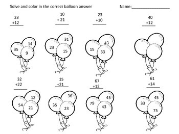 Balloon Addition and Subtraction