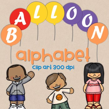 Balloon Alphabet Clipart  - Capital Letters  - 300 DPI