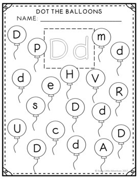Balloon Alphabet Dot-It Sheets (A-Z)