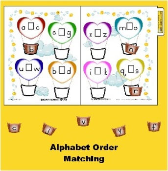 Balloon Alphabetical Order Matching Folder Game- Life Skil