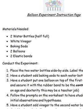 Balloon, Baking Soda and Vinegar Experiment Data collection sheet