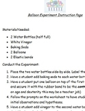 Balloon, Baking Soda and Vinegar Experiment Data collection sheet