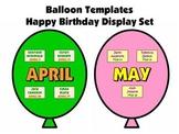 Balloon Birthday Templates:  Happy Birthday Bulletin Board