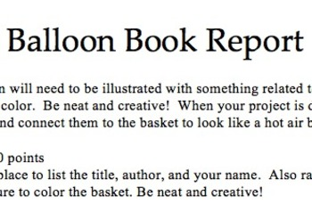 Balloon Book Report