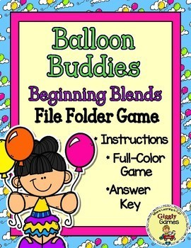 Balloon Buddies Beginning Blends File Folder Game
