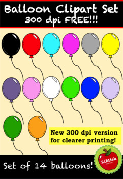 FREE!!! Balloon Clipart (Set of 14 for commercial use)