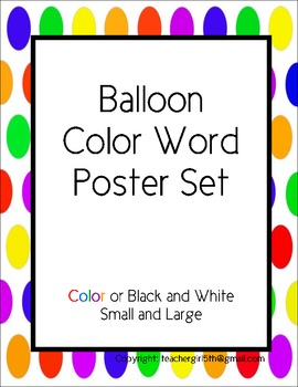 Balloon Color Words Poster Set