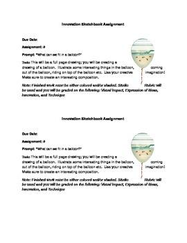 Balloon Drawing-Sketchbook Assignment