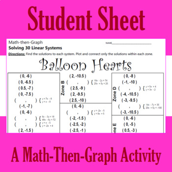 Valentine's Day - Balloon Hearts - A Math-Then-Graph Activity - Solve 30 Systems