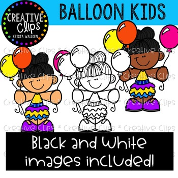 Balloon Kids Clipart {Creative Clips Clipart}