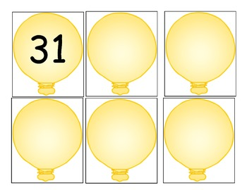 Balloon Number Cards/Calendar Cards