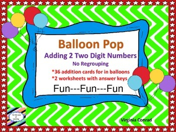 Adding 2 Two Digit Numbers without Regrouping--Balloon Pop