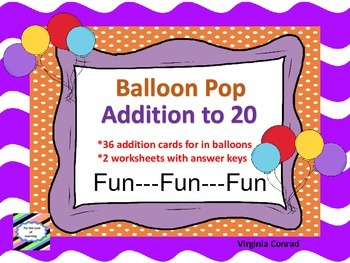 Adding Sums to 20---Balloon Pop