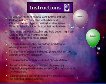Balloon Pop Attendance - With Instructions