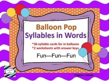 Counting Syllables---Balloon Pop