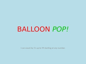 Balloon Pop PowerPoint Template- Skip Counting by 5's