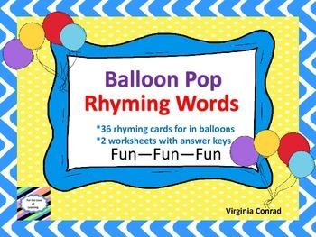 Rhyming Words---Balloon Pop