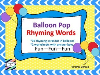 Rhyming Words---Balloon Pop