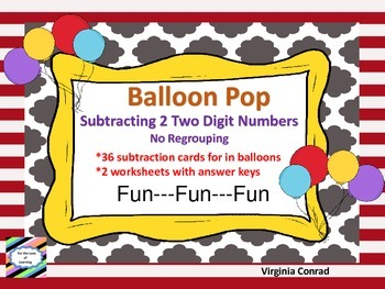 Subtracting 2 Two Digit Numbers Without Regrouping---Balloon Pop