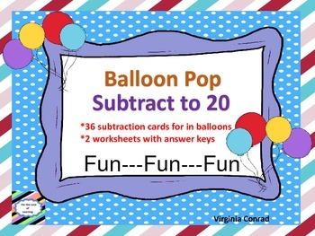 Subtracting to 20---Balloon Pop