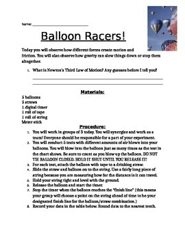 Balloon Racers Experiment
