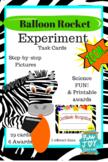 Balloon Rocket Experiment Task Cards, Printable Awards, Fu