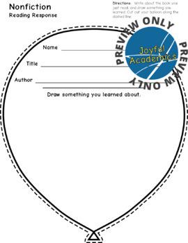 Balloon Shaped Reading Response Sheets for Any Book
